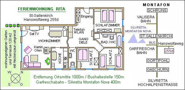 Plan der Ferienwohnung Rita Montafon